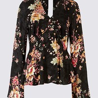 Printed Choker Neck Long Sleeve Blouse | Limited Edition | M&S
