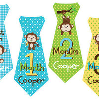 Boy Tie Baby Month Stickers Personalized (Monkey Boy Tie) - Includes Newborn and Extra-Large 12 Month Stickers - Monthly Onesuit Stickers