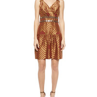 Diane Von Furstenberg Eugenia Brocade Drop-Waist Dress, Cocoa/Gold