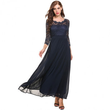 Women Casual 3/4 Sleeve Lace Patchwork O Neck Slim Vintage Style Wedding Maxi Dress