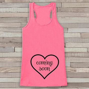 Pregnancy Announcement Tank - Simple Pregnancy Shirt - Baby Coming Soon Tank - Pink Tank Top - Pregnancy Announcement Shirt - New Mom