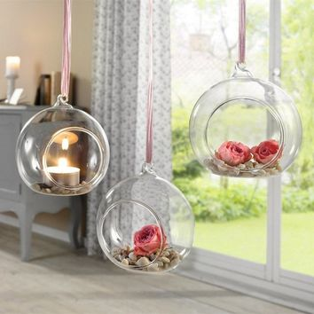 Hanging Tealight Holder Glass Globes Terrarium Home Wedding Deoration ( Size: 80MM )