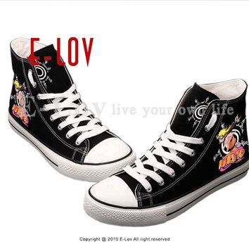 E-LOV Personality Hip Hop Unisex Canvas Shoes Cosplay Printed Japan Animes Casual Flat Shoe Lace-up Sapato For Gifts