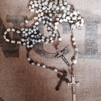 Antique Rosaries,shabby, french, mother of pearl and milk glass beads perfect on a mannequin.