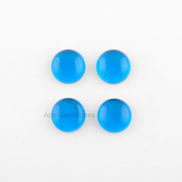 5 Pcs. Round 14mm London Blue Quartz Smooth Loose Gemstone Calibrated Cabochons, Stone for Making Jewelry