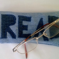 Read - Denim Eye Glass Case - Hot Pink Lining
