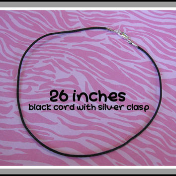 26 Inch Black Satin Cord Necklace With Silver Plated Clasp - 153