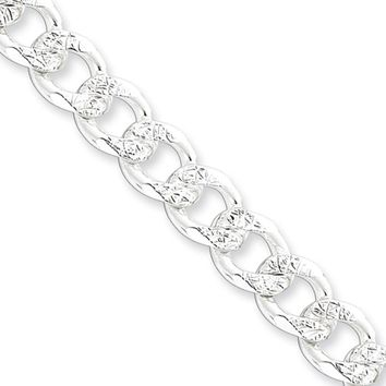Men's 8mm, Sterling Silver Solid Pave Curb Chain Necklace, 20 Inch