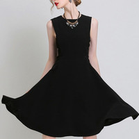 Black Sleeveless Skater Mini Dress