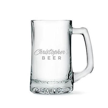 Engraved Glass Beer Mug Gift for Men - Casual Etching (Pack of 1)