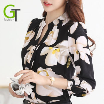 New Autumn Fashion V-Neck Chiffon Blouses Slim Women Chiffon Blouse Office Work Wear shirts Women Tops Plus Size Blusas