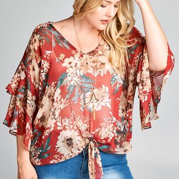 Ruby Red Floral Knot Top | Plus