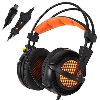 SADES A6 USB PC Gaming Headset 7.1 Surround Sound Stereo Gaming Headphones Over Ear Headband with High Sensitivity Microphone Volume Control Breathing LED Lights for PC Gamer(BlackOrange)