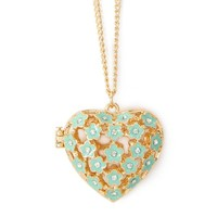 Claire's Accessories Girls Mint Green Enamel Flower Heart Locket Pendant Necklace