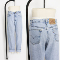 """Vintage Levi's 555 JEANS - Cotton Denim Relaxed Fit Tapered Leg High Waist Mom Jeans 1990s - 30"""" x 31"""" Medium"""