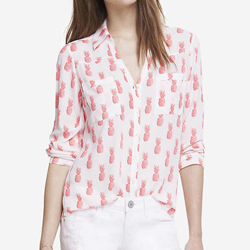 PINK PINEAPPLE CONVERTIBLE SLEEVE PORTOFINO SHIRT from EXPRESS