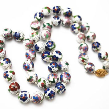 Cloisonne flower Bead Necklace - White Blue Green purple gold Enameling - Hand knotted - floral beads