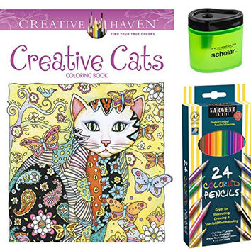 Sargent Art Colored Pencils, Set of 24, Dover Creative Haven Creative Cats Coloring Book by Marjorie Sarnat and Prismacolor Scholar Colored Pencil Sharpener (Bundle of 3)