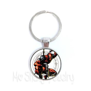 1PCS Deadpool KeyChain 25mm Round Glass Dome Classic Cartoon Characters Keyring Personalized Gift For Cartoon Lover