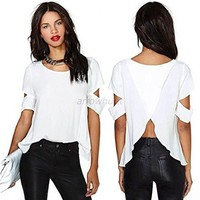 Leshery Women Short Sleeve T-shirt Loose Chiffon Blouse Tops Backless Cut-out Shirt Chic (L)