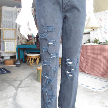 Upcycled Black High Rise Size 8 Jeans Destroyed Distressed Womens Hipster Rocker Grunge