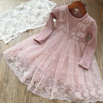 Autumn Winter Cotton Long Sleeves Dress Kids Dresses for Girls Children Flower Embroidery tutu Ball gown Girls Clothing Age 3-8T