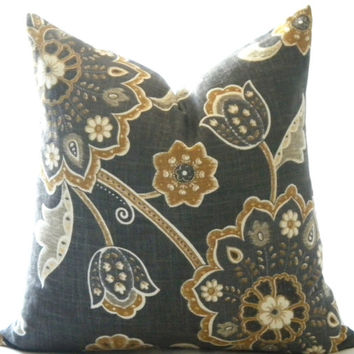 Designer pillow cover Charcoal grey and floral, Toss pillow, throw pillow, sofa pillow