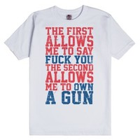 Fuck You Own A Gun-Unisex White T-Shirt