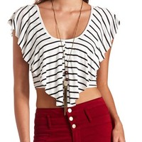 STRIPED RUFFLE FLOUNCE CROP TOP