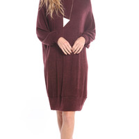 LONG SLEEVE SWEATER DRESS - BURGUNDY