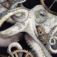 "Octopus, Gears, Steam Punk | 'Sofia' | Watercolor | Archival Print 5"" x 7"""