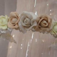 Wedding 3 colour Roses and Pearls Hair Band from Alorna Collection