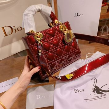 Dior Women Shopping Leather Metal Crossbody Handbag Shoulder Bag
