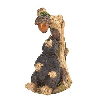 Set of 2 Black Bear Solar Statues