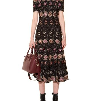 Floral-embroidered short-sleeved midi dress | Givenchy | MATCHESFASHION.COM US