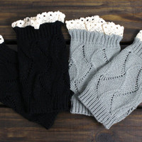 Set of TWO: Knit Boot Cuffs, Womens Legwarmers, Lace Boot Cuffs, Boot Socks, Gray Boot Cuffs, Black Boot Cuffs, Womens Boot Socks