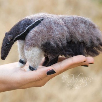 MADE TO ORDER needle felted anteater, wool toy, felt animal, felting, creature, exotic, gift, furry, soft sculpture