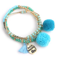 Your Beautiful Pom Pom Bracelet