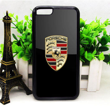 PORSCHE BADGE LOGO ON BLACK SERGE VER BUKH IPHONE 6 | 6 PLUS | 6S | 6S PLUS CASES