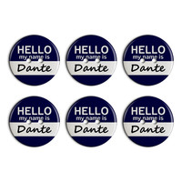 Dante Hello My Name Is Plastic Resin Button Set of 6