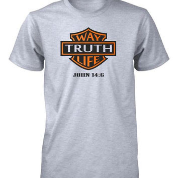 Way Truth Life Jesus God Biker John 14:6 Christian T-shirt for Men