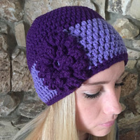 Crochet Beanie Hat Winter Hat Shell Beanie Skull Cap Teens Back to School Winter Beanie Fall Beanies Flower Beanie, Purple & Lavender