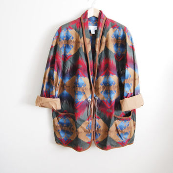 Southwest Wonder: Vintage 90s Navajo Print Oversized Coat Jacket Metal Medallion