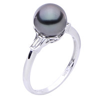 14K Gold Tahitian Pearl & Baguette Diamond Ring