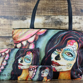 Hope Sugar Skull Purse - Sugar Skull Handbag - Dia De Los Muertos Shoulder Bag - Sugar Skull Art - Chicana Art - Gifts for Her - Classic Bag