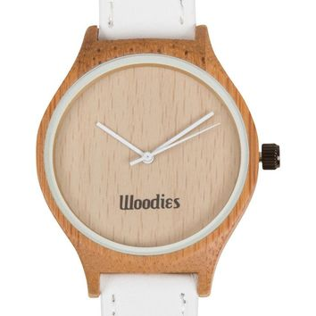 White Bamboo Wood Watch