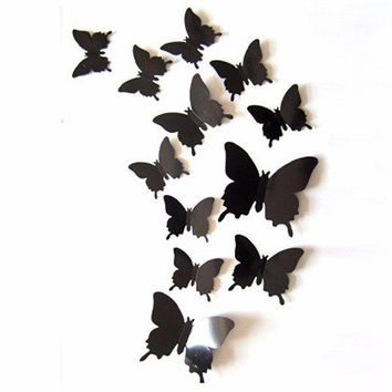 12Pcs DIY 3D Butterfly Art Wall Sticker Decals Home Room Wedding Party Decorations