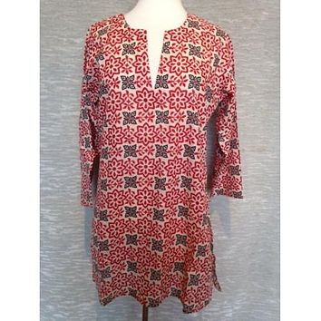 Cotton Tunic Top Red Indian Print