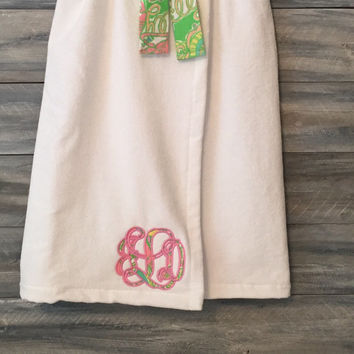 Monogrammed Towel Wrap, Monogram Towel, Bath Wrap, Spa Wrap, Graduation, Towel, Wrap, Lilly Pupitzer, Towel Wrap