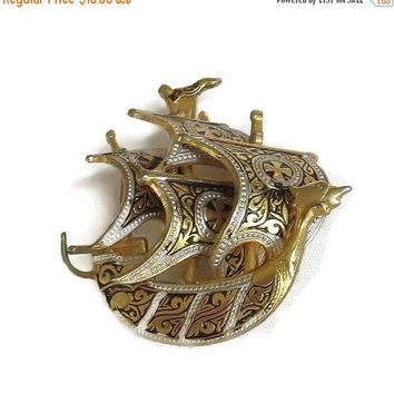 Damascene Spanish Galleon Ship Brooch Vintage